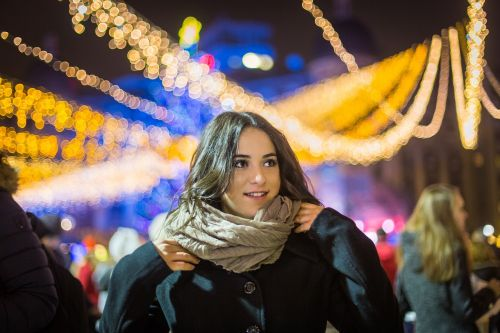 portrait bokeh lights