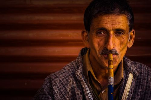 portrait man man smoking hookah