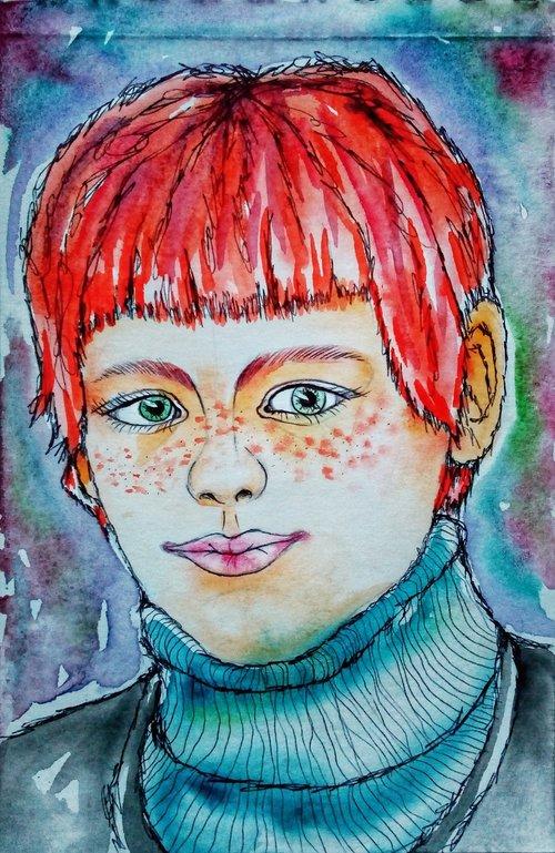 portrait  redhead  saffron milk cap