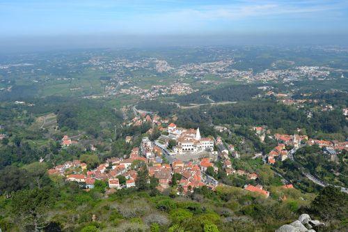 portugal,sintra,panoraminis,vaizdas,turizmas,Senamiestis,horizontas