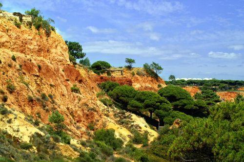 portugal, algarve, Rokas, raudona, uolos pakrantė, dangus, rotorinis smėlis