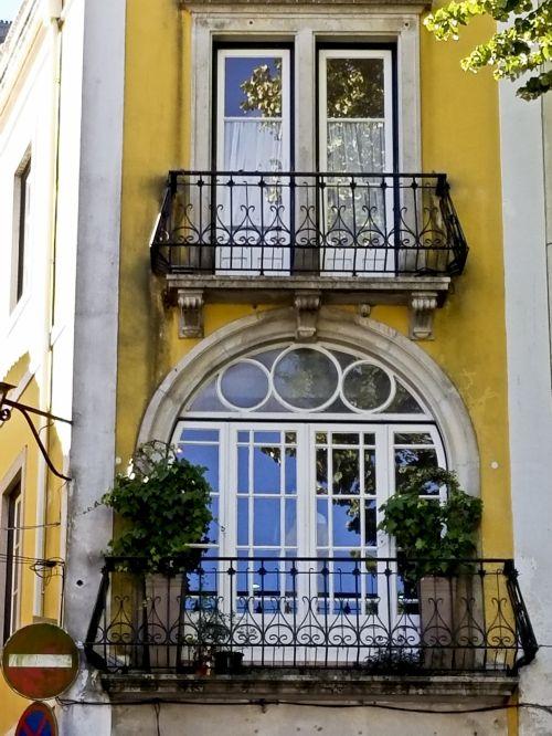 langas, langai, ornate, geltona, architektūra, lisbonas, portugal, Portugalijos langai