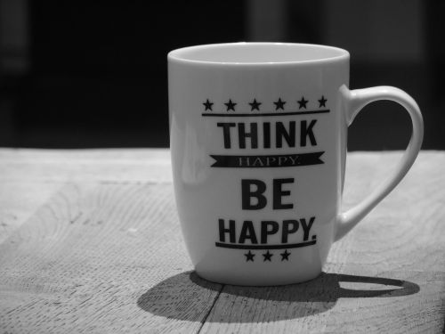 positive thinking cup black white