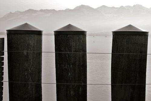 post wooden posts lake