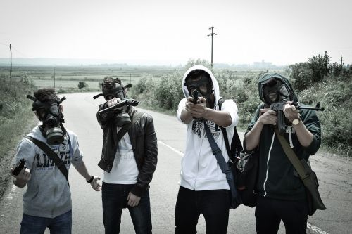young people post apocalyptic gas mask