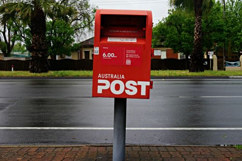 post box wet road mail