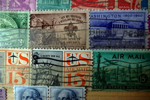 postage stamps old paper