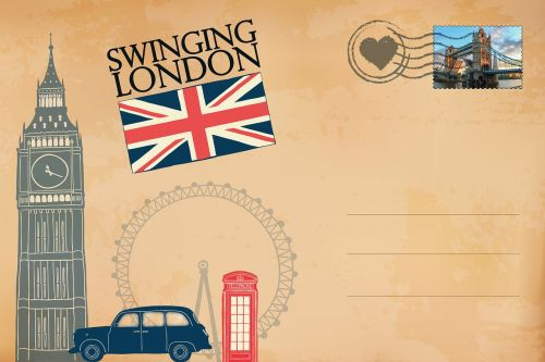 postcard,london,big ben,phone booth,vintage,old,antique,cosmopolitan city,landmark,stamp,new,tower bridge,lettering,union jack,graphic