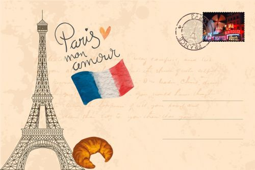 postcard,paris,eiffel tower,city of love,vintage,old,antique,tour eiffel,cosmopolitan city,landmark,stamp,new,moulin rouge,croissant,tricolore