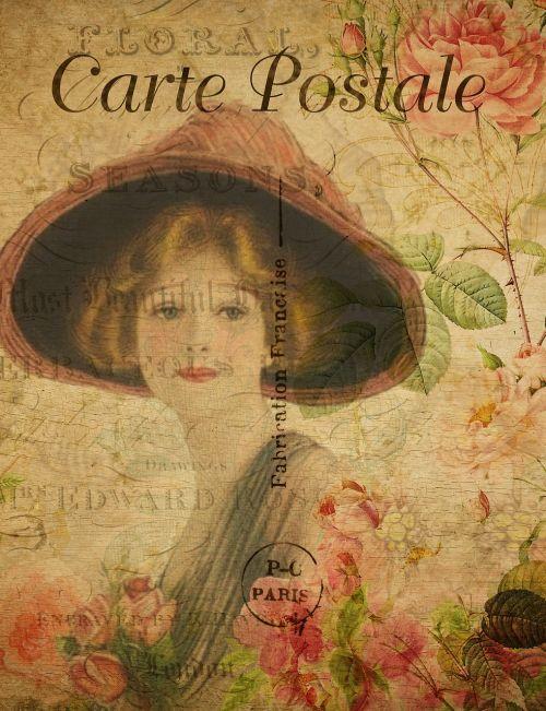 postcard vintage woman