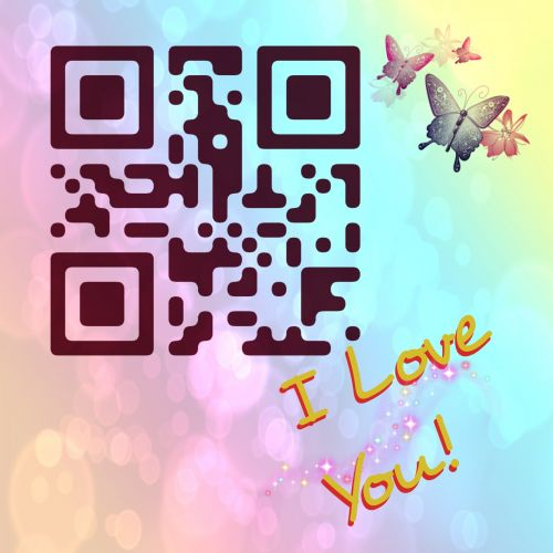 Postcard I Love You With QR Code