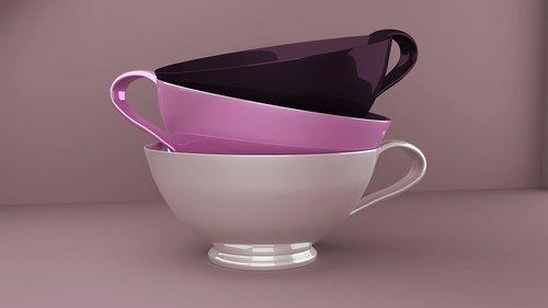 puodai, virtuvės indų, fonas, indai, tuščia, puodelio, keramikos, gerti, 3d, atvaizdavimas, 3D-modelis, puodeliai