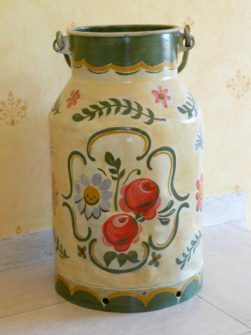 pot milk can painted