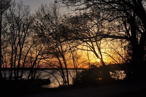 potomac river  sunset  evening