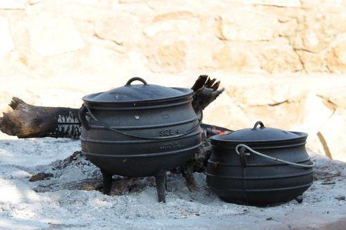 pots food outdoor cooking