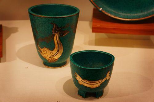 pottery vase blue