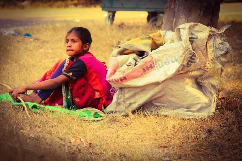 poverty girl hungry