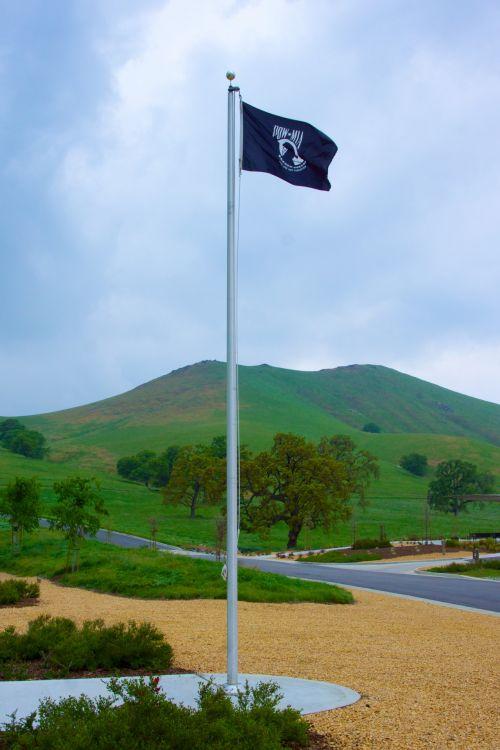 POW MIA Flag Above Cemetery