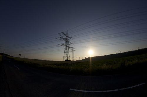 power poles power lines energy