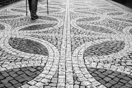 prague cobblestones black and white