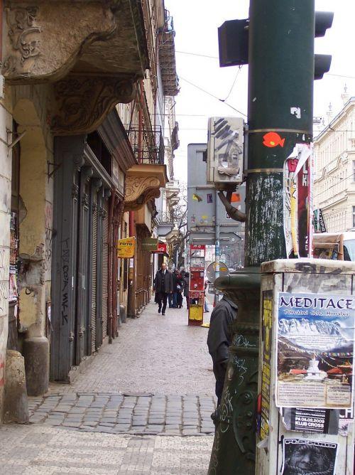prague walk street paving stones