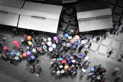 prague umbrellas piazza
