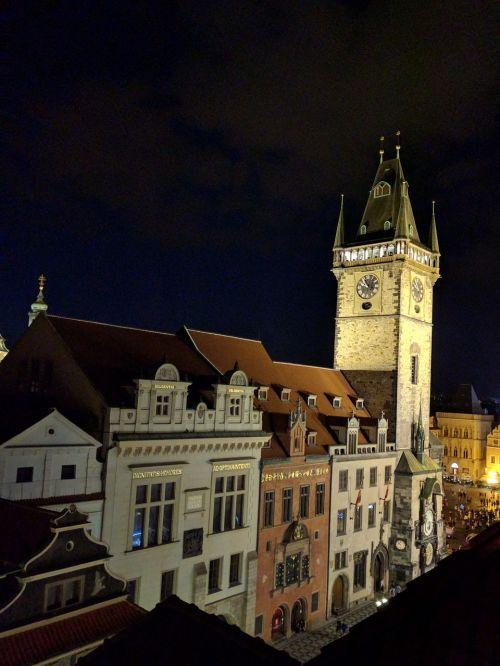 prague night castle cityscape