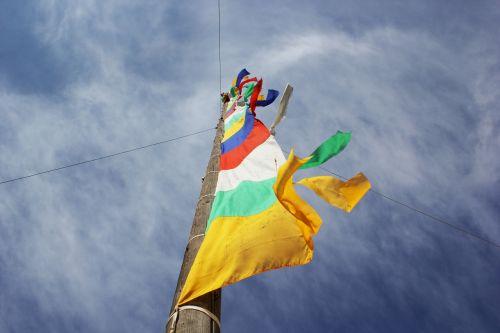 prayer flags sky tibetan