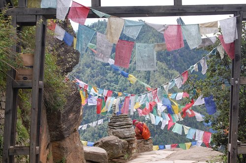 prayer flags  bhutan  buddhism