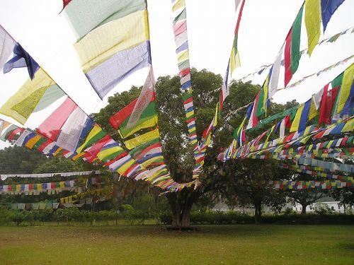 prayer flags buddhism lumpini