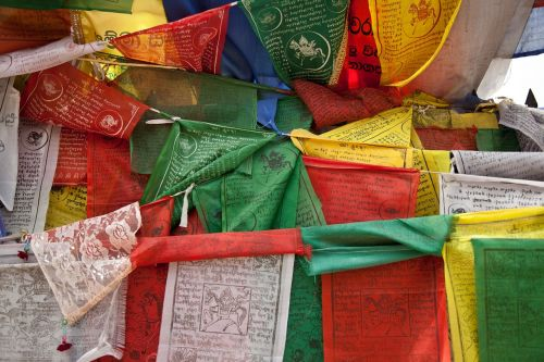 prayer flags colorful buddhism