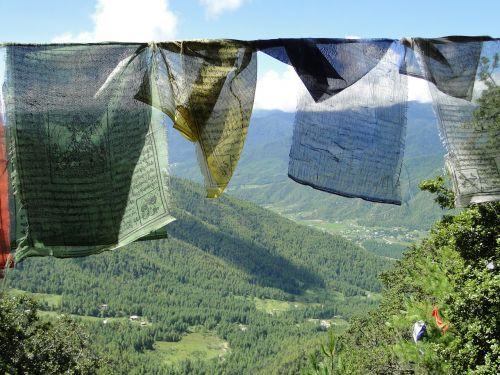 prayer flags mountain bhutan