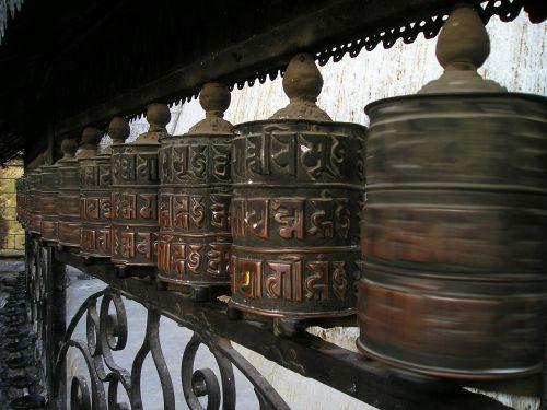 prayer wheels buddhism nepal