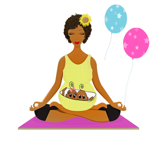pregnant woman yoga  afro american  pregnant