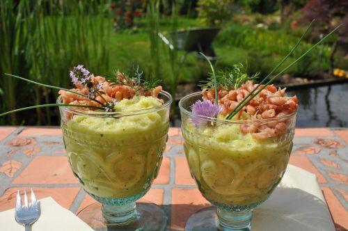 preparing shrimp garden dinner