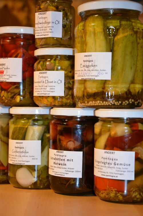 preserving jars pickles vegetables