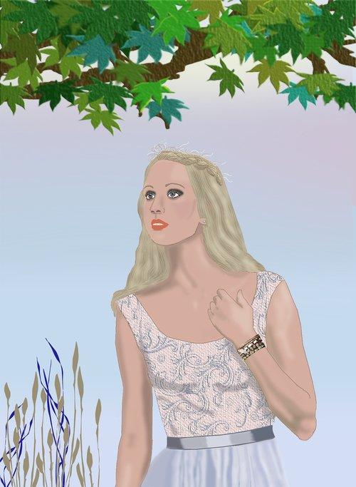 pretty blonde woman  pretty dress  plants