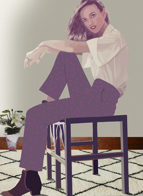 pretty woman  table  tiled floor