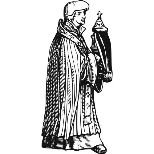 priest middle ages wood engraving