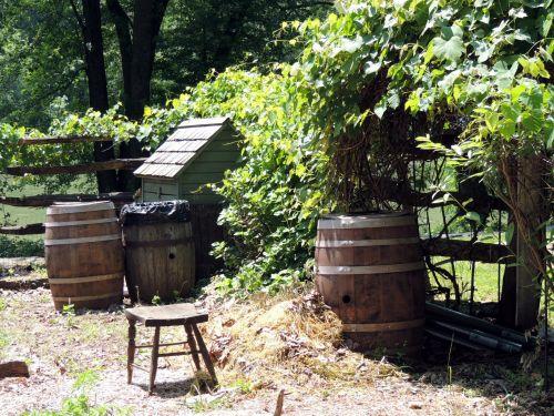 Primitive Garden Rain Barrels