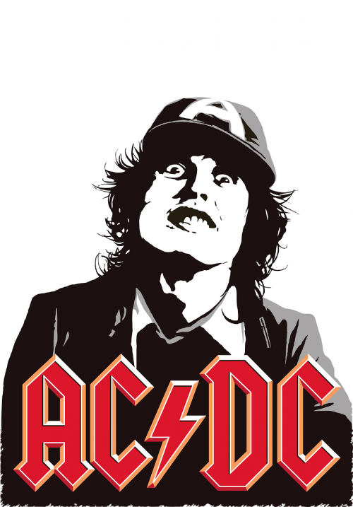 printing on t-shirt ac dc rock-group