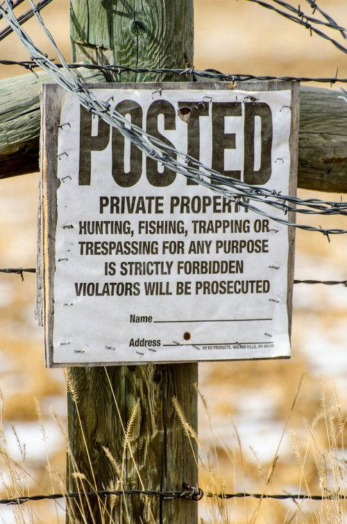 private property posted no hunting