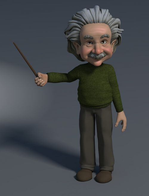 professor 3d figure pointing at