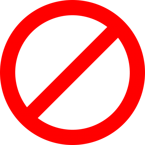 prohibited forbidden no