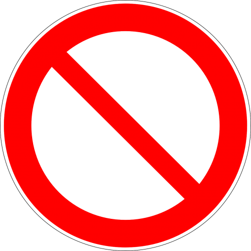 prohibited forbidden not allowed