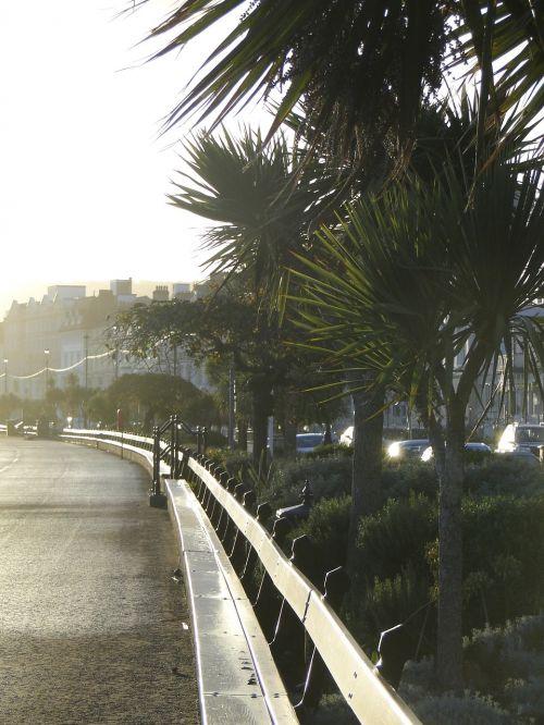 promenade city by the sea park bench