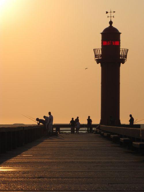 prieplauka, molo griovys, švyturys, jūra, vanduo, vaikščioti, saulėlydis, uostas, vaikščioti ir švyturį