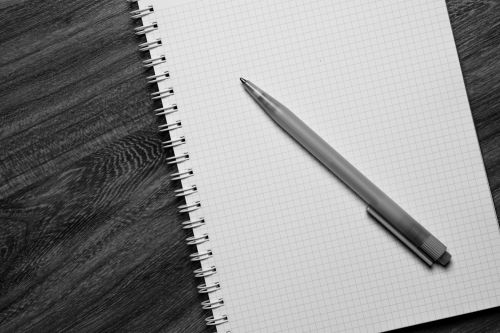 Pen And Notebook - Black And White