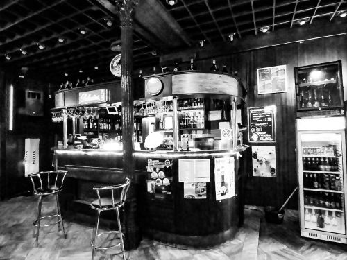 pub bar at night