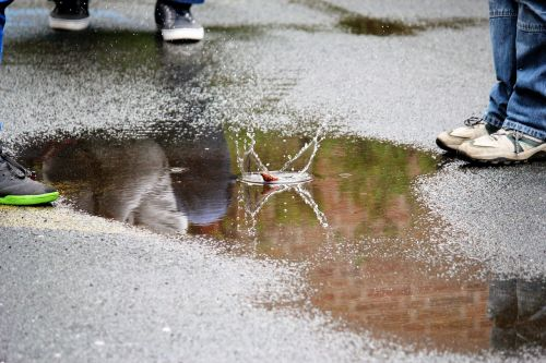 puddle squirts water